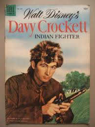 Here's a book cover from the 1950's. It shows Fess Parker as Davy Crockett.